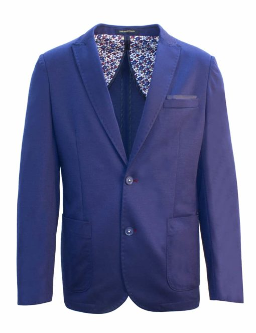 Tailored Fit Navy Knitted Single Breasted Blazer B1B1.2