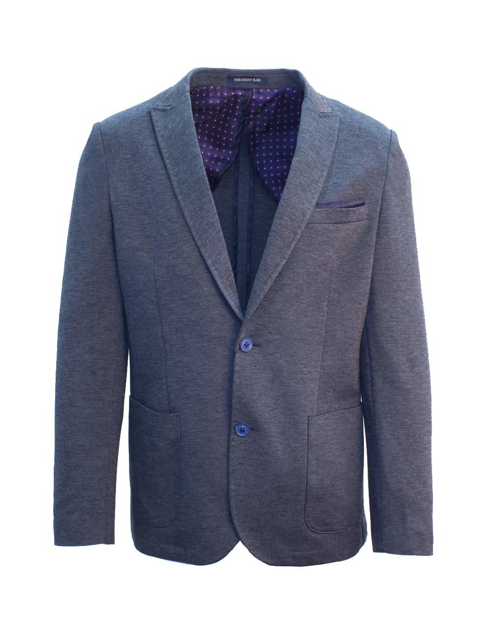 Slim Fit Charcoal Grey Knitted Blazer - B1B3.2