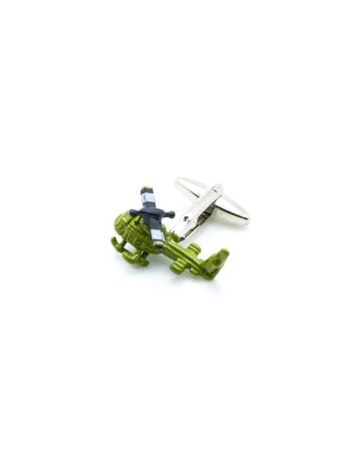 Green painted helicopter cufflink 0101-010