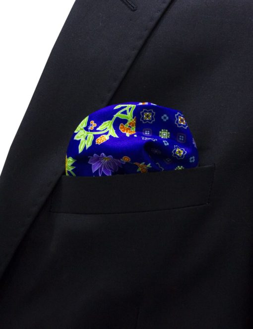 4-in-1 Red with Blue Print Pocket Square PSQ24.8