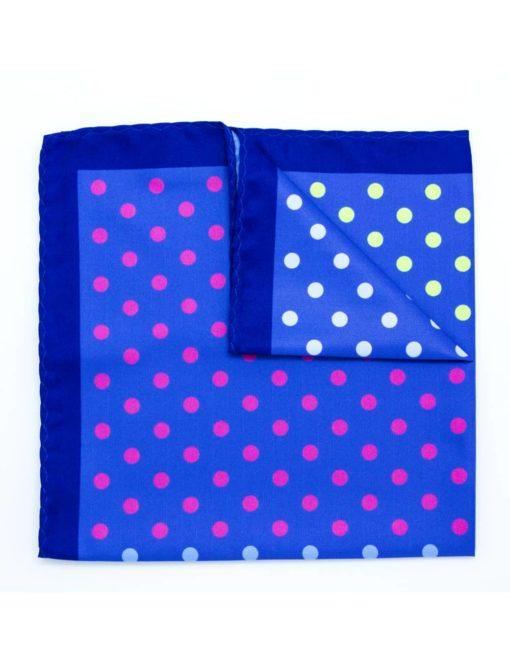 4-in-1 Blue Polka Dots Print Pocket Square PSQ30.8