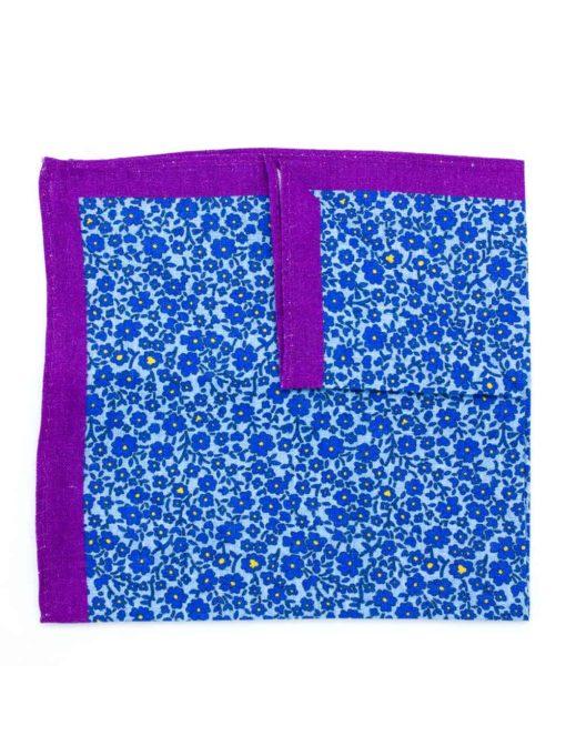 Purple with Blue Floral Print Linen Pocket Square PSQ50.8