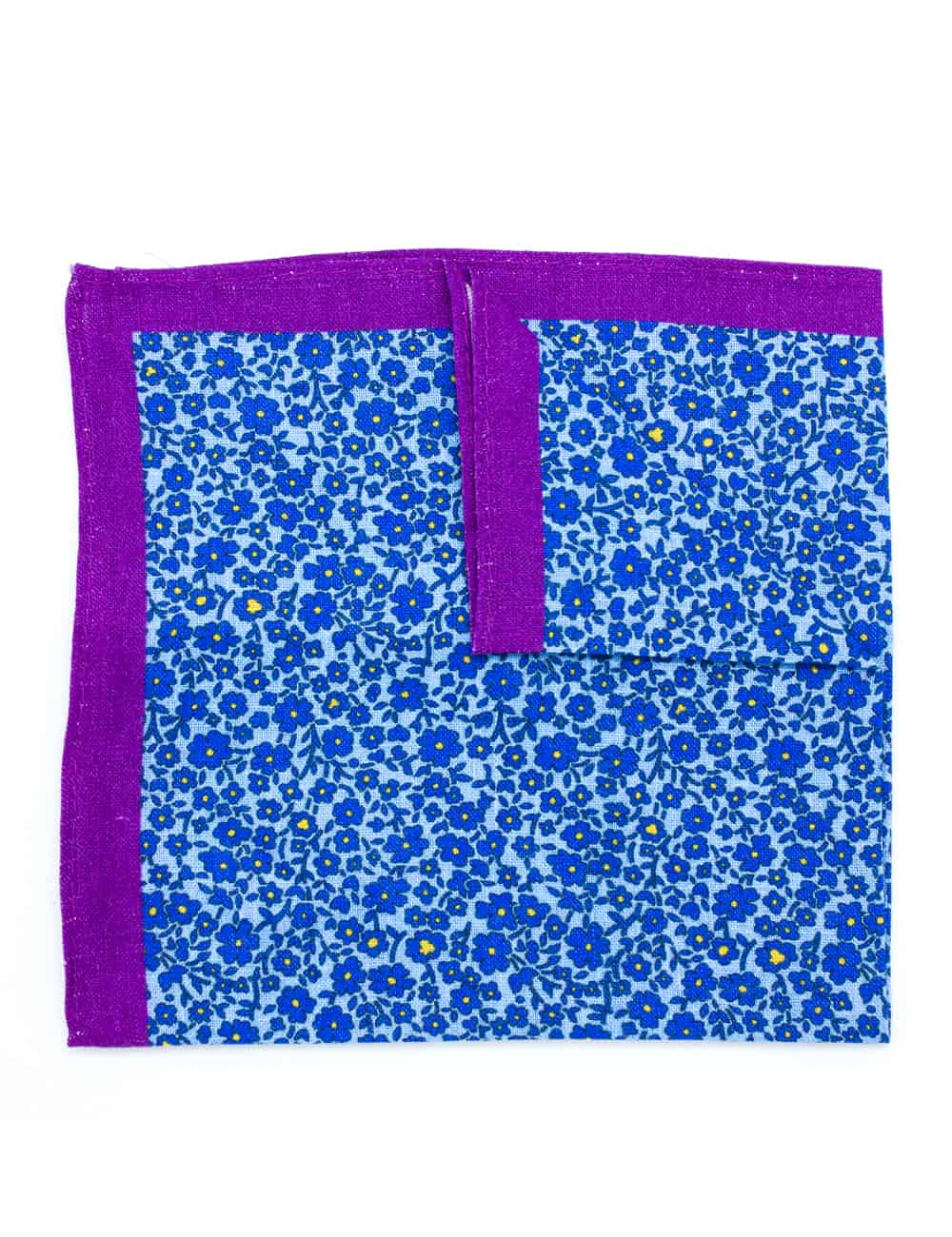 d55a7510aa332 Purple with Blue Floral Print Linen Pocket Square PSQ50.8 - The ...