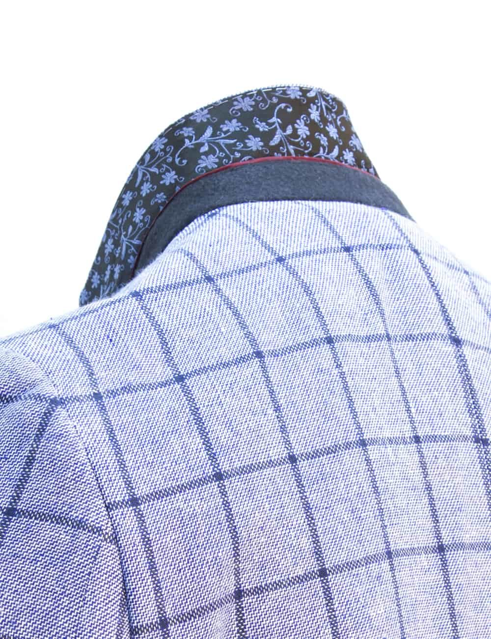 Tailored Fit Linen Cotton Blend Blue Checks Single Breasted Blazer S2B1.2