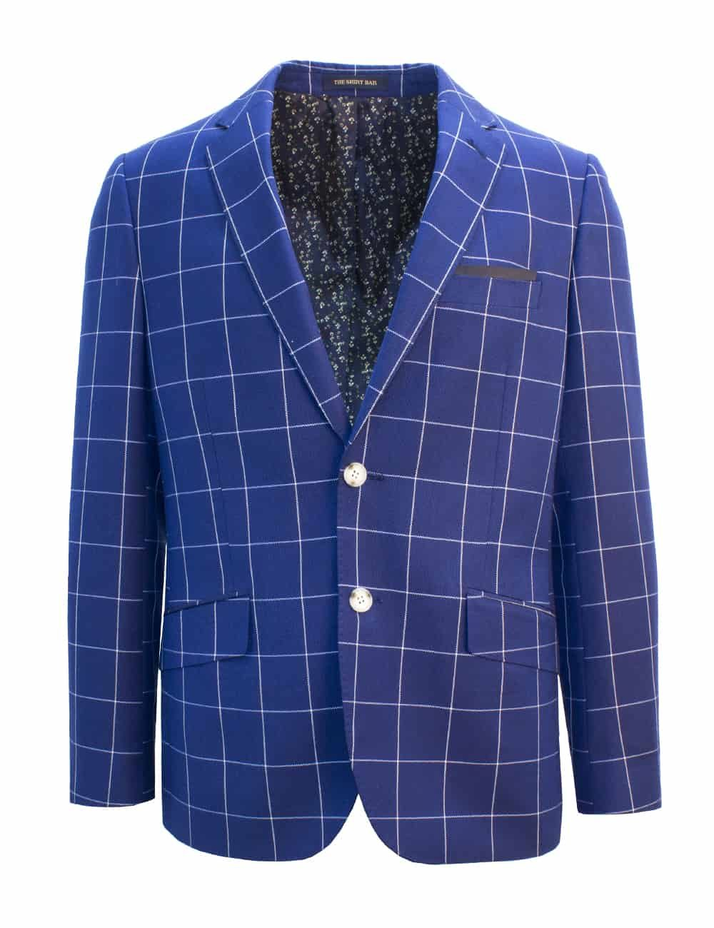 Tailored Fit Navy Checks Single Breasted Blazer S2B2.2