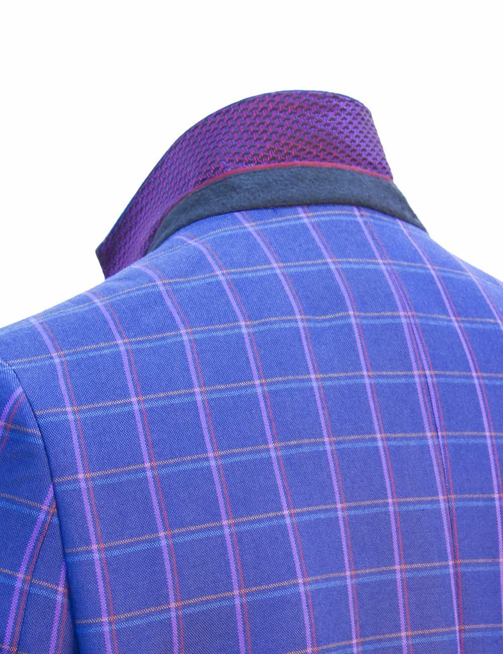 Slim Fit Ensign Blue Checks Blazer - S2B3.2