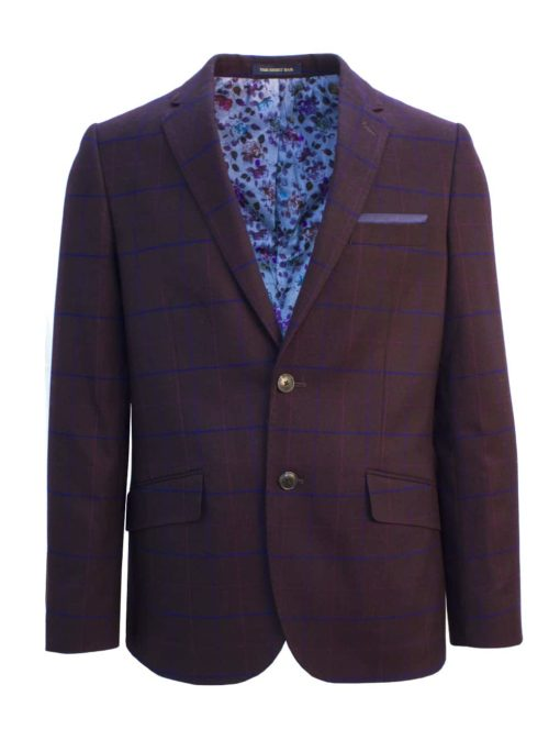Tailored Fit Maroon Checks Single Breasted Blazer S2B4.2