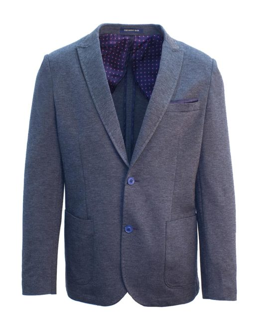 Tailored Fit Charcoal Grey Knitted Single Breasted Blazer B1B3.2