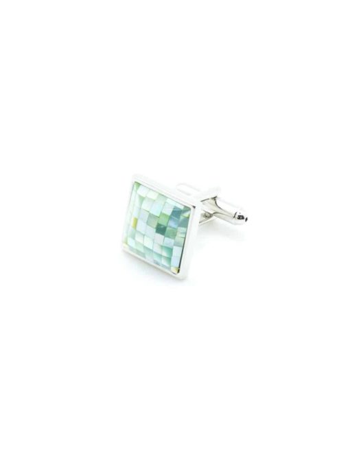 Chrome silver curved square cufflink with silverstone green chekered pearl mosaic C131FP-039a