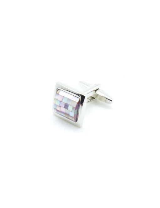 Chrome silver cufflink with light purple square chequer mother of pearl C131FP-018d