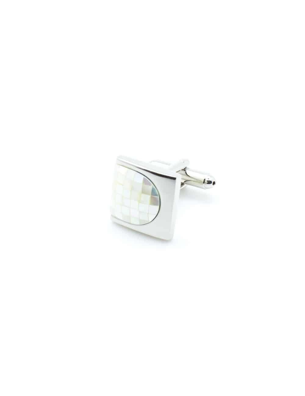 Chrome silver thumbnail cufflink with plain white pearl C131FP-036b
