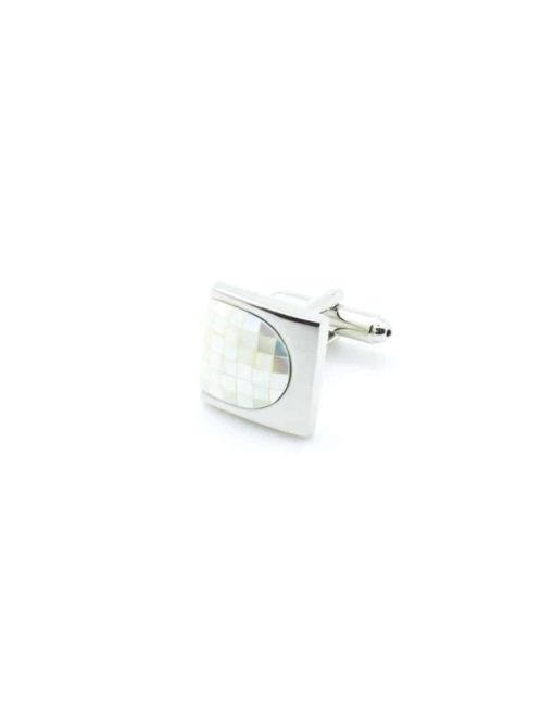 Chrome silver thumbnail cufflink with plain white pearl C131FP-036b