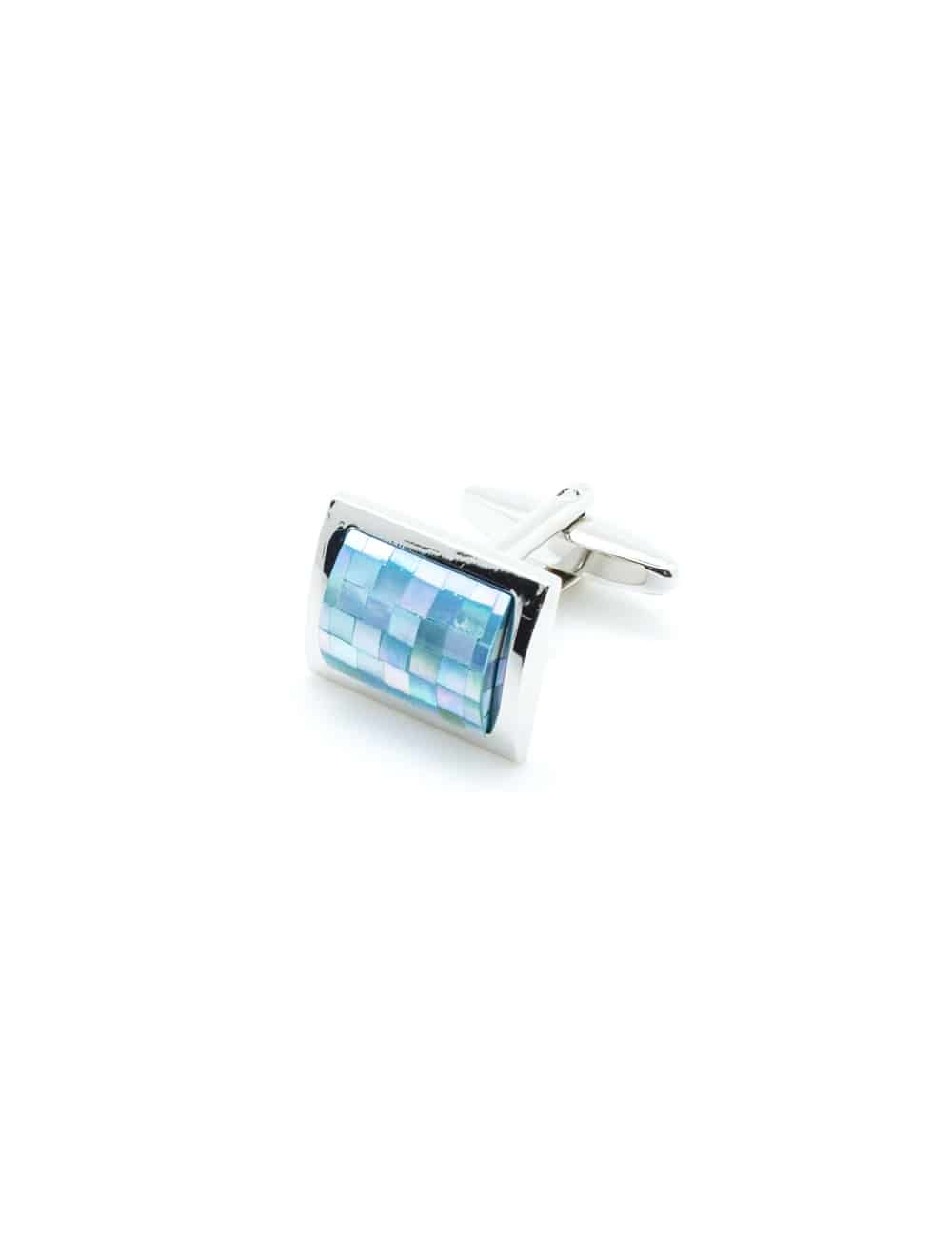 Chrome silver cufflink with blue checkered mother of pearl C131FP-024a