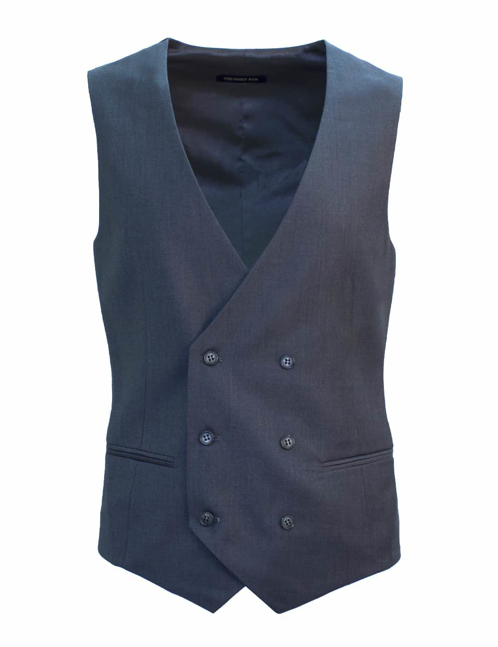 Tailored Fit Grey Double Breasted Vest V2V1.1