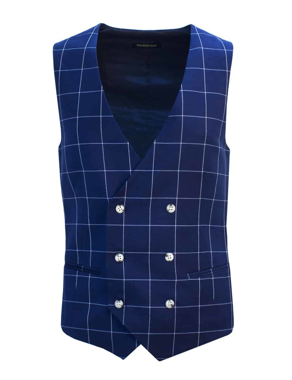 Tailored Fit Blue Checks Double Breasted Vest V2V2.1