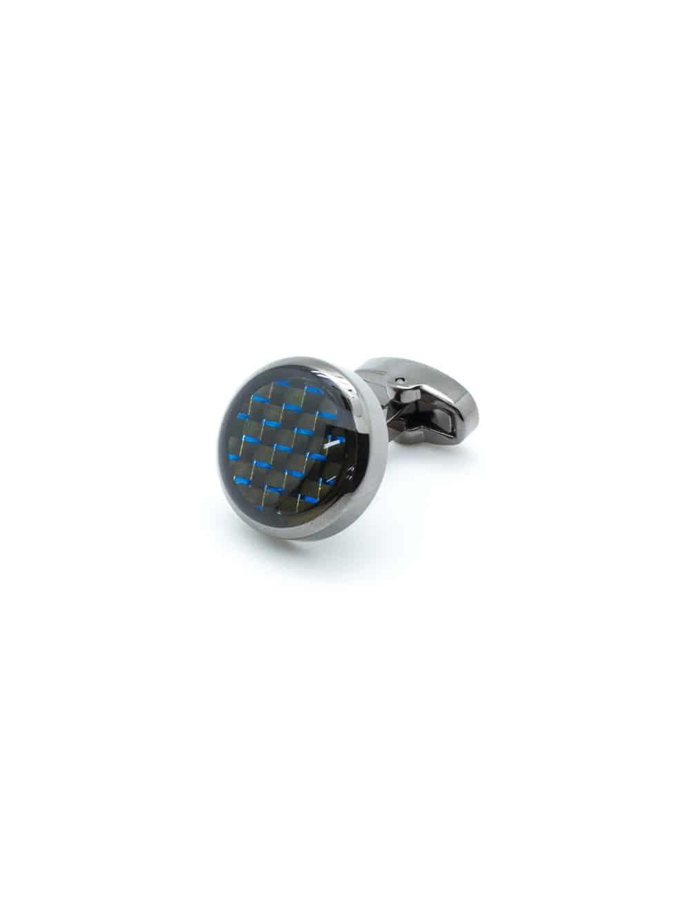 Glossy rhodium enamel circular cufflink with blue carbon accent C111FE-053