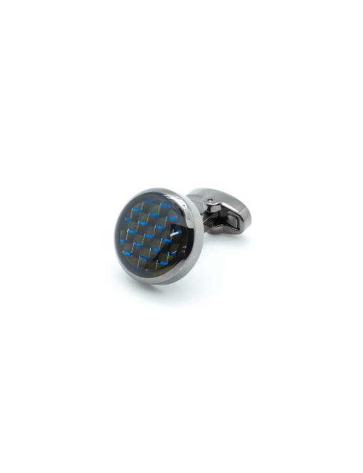 Glossy rhodium enamel circular cufflink with blue carbon accent C111FE-053