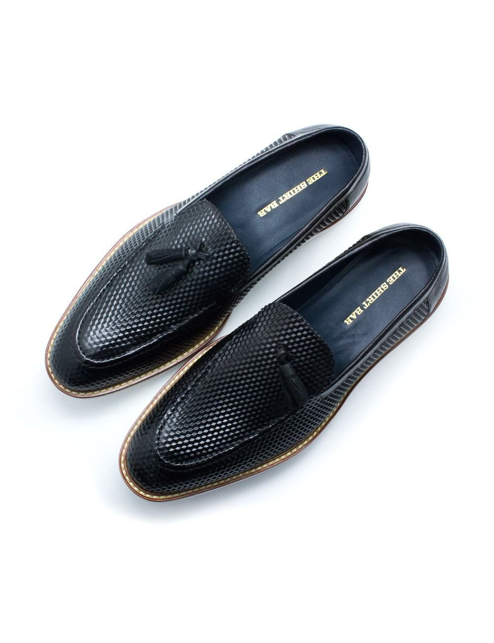 Black Leather Tassel Loafers F11D1.2