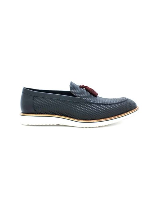Navy Leather Tassel Loafers F11D5.2