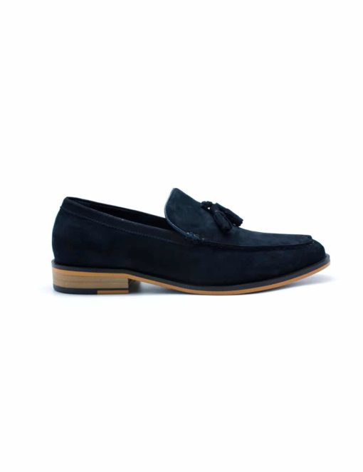 Navy Leather Tassel Loafers F11D5.4
