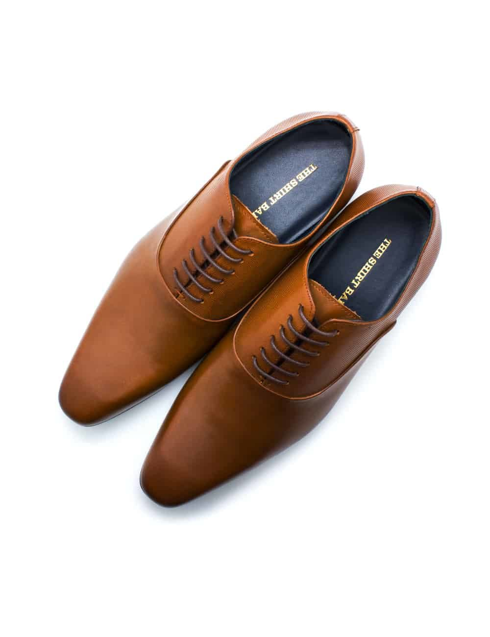 Tan Leather Oxford Plain Toe F12A19.3