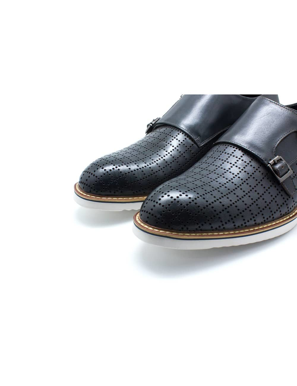 Grey Leather Double Monk Strap F16C2.2