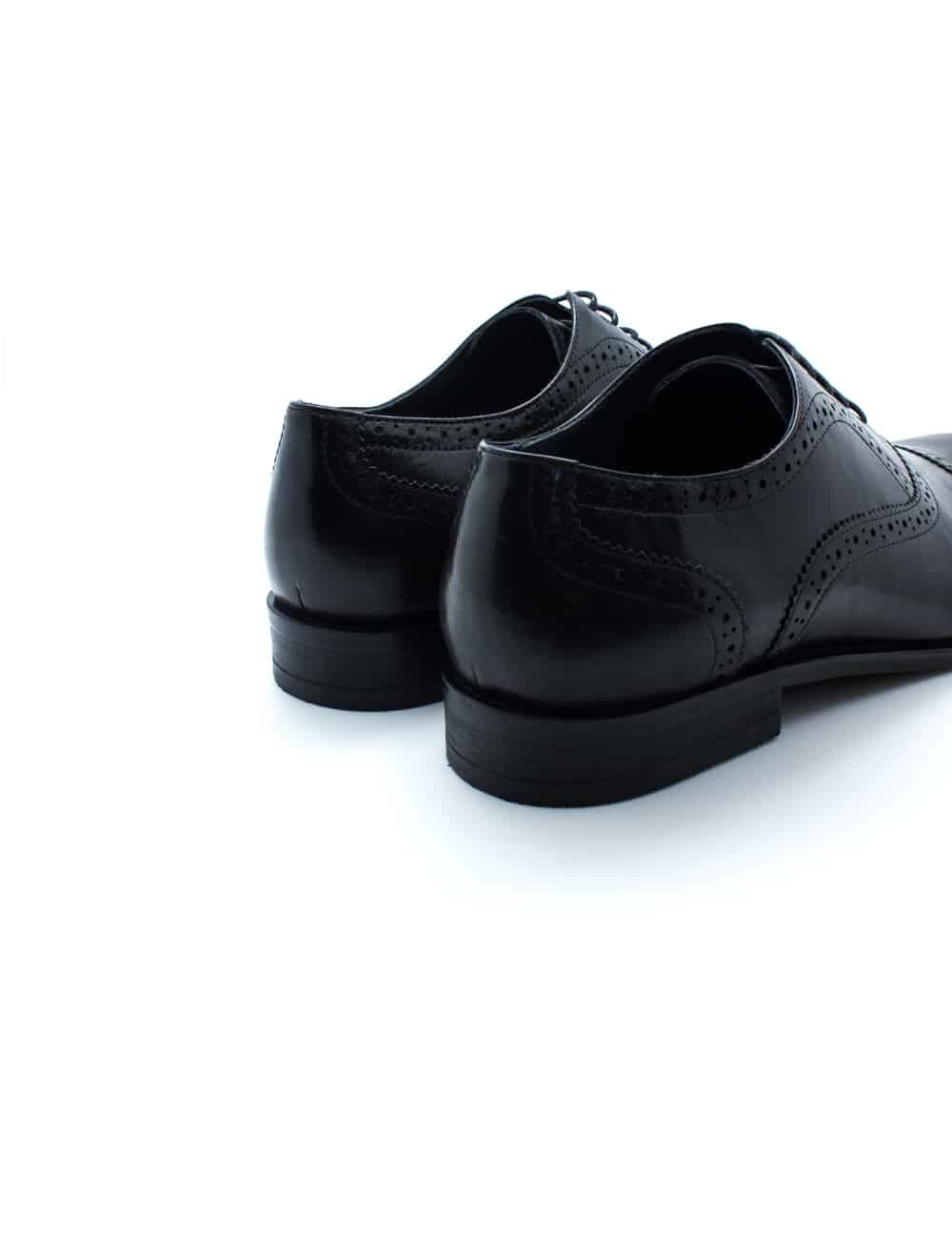 Black Leather Oxford Quarter Brogue F19A1.3