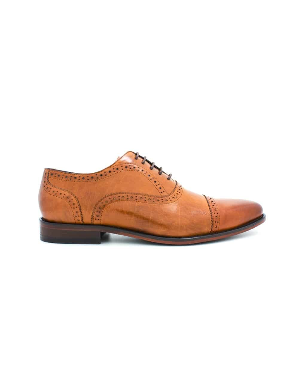 Tan Leather Oxford Quarter Brogue F19A19.3