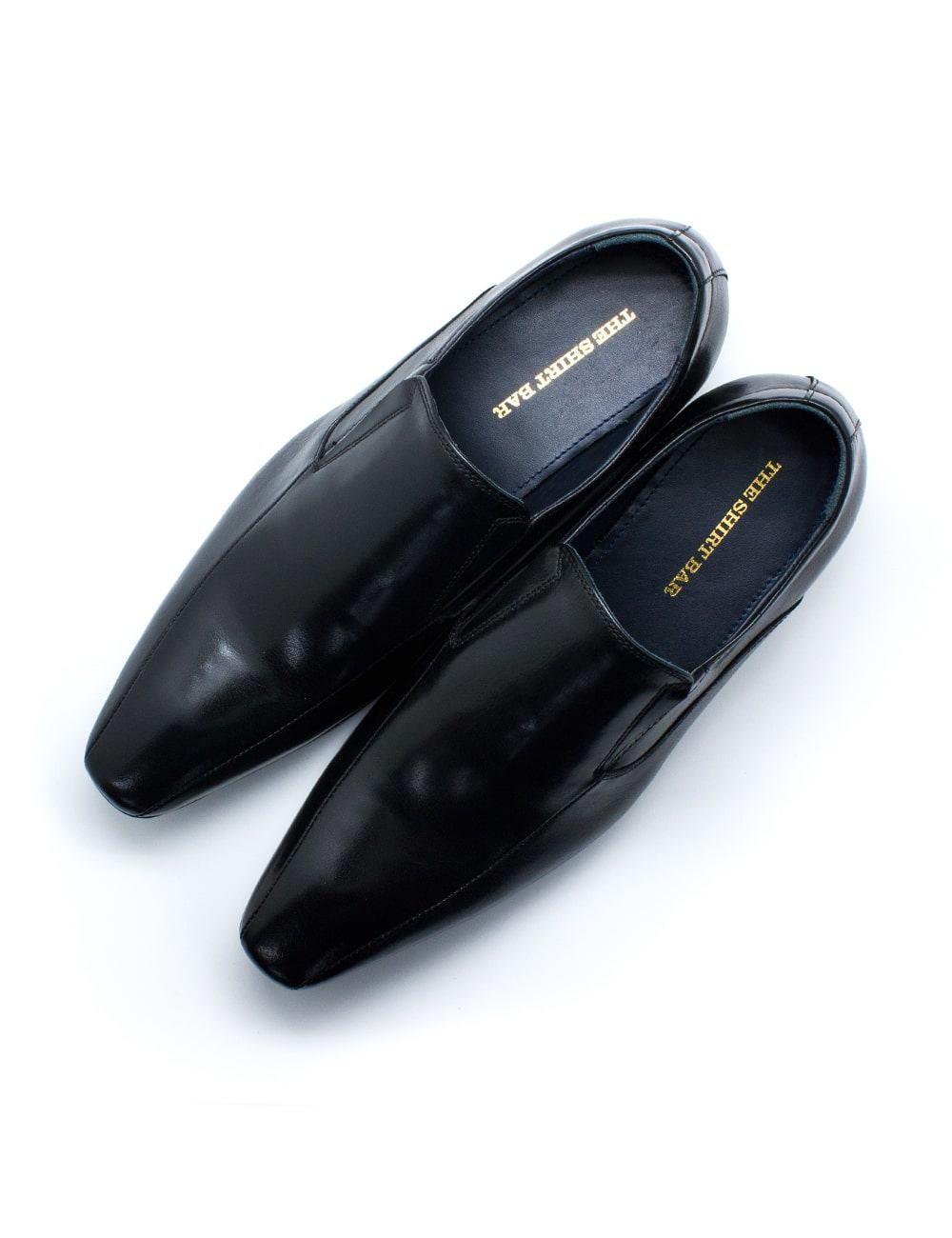 Black Leather Side Gusset Plain Toe Loafers F21D1.4