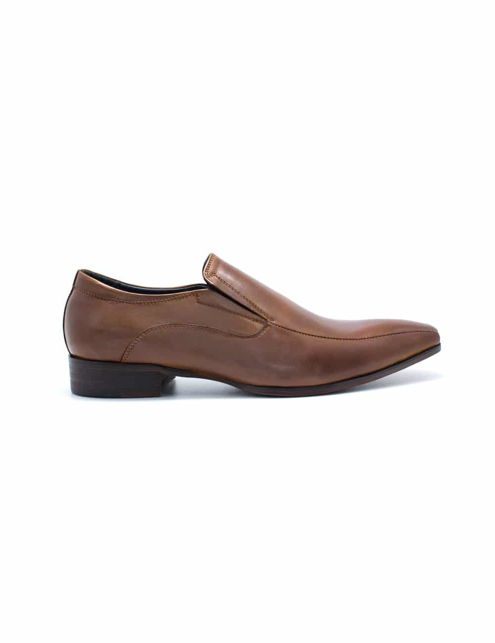 Brown Leather Side Gusset Plain Toe Loafers F21D11.4