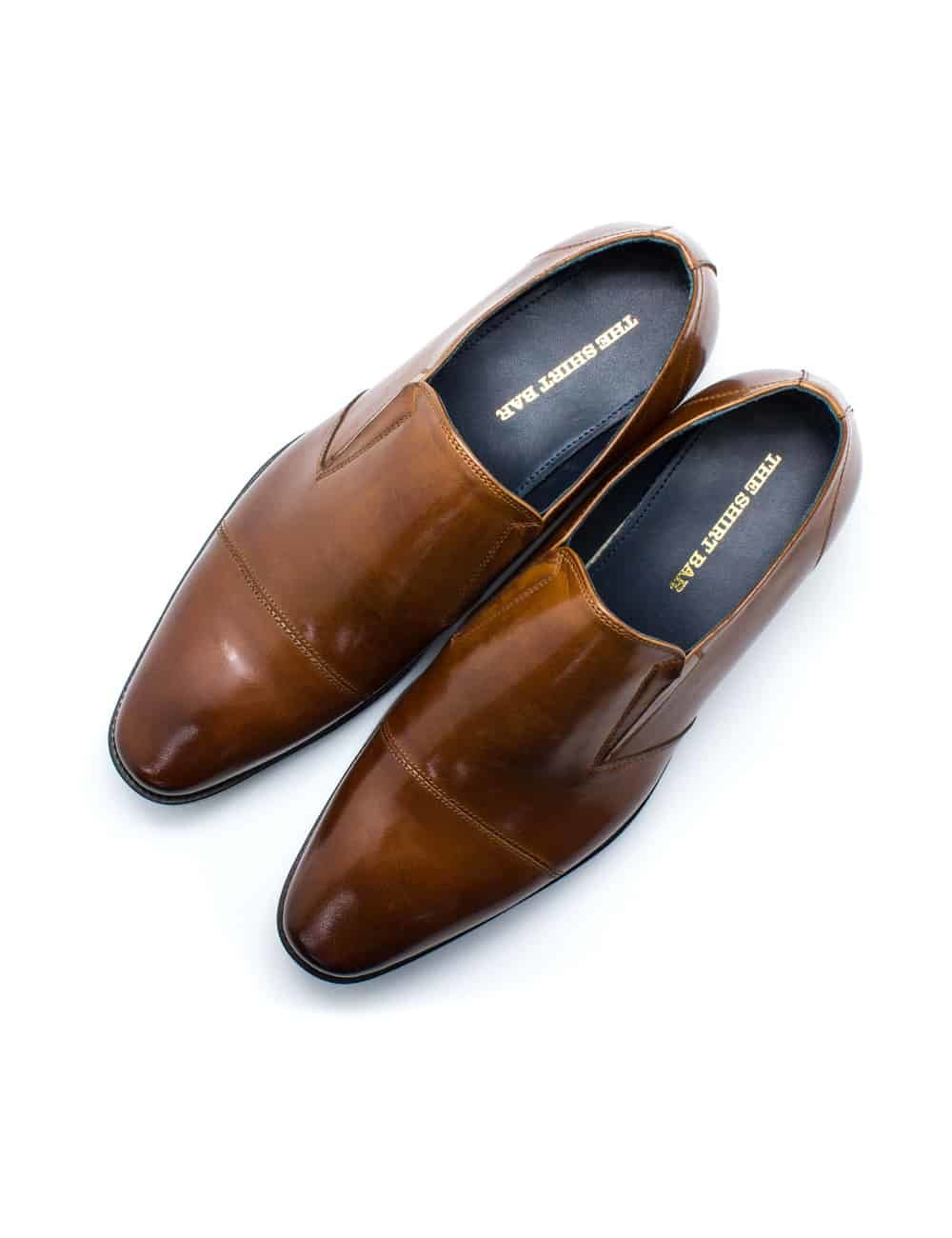 Brown Leather Side Gusset Cap Toe Loafers F22D11.4
