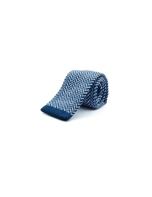 Blue Zig Zag Knitted Necktie KNT33.8