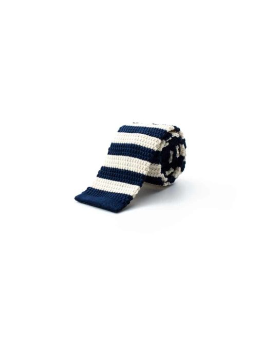 Navy and Cream Stripes Knitted Necktie KNT84.8