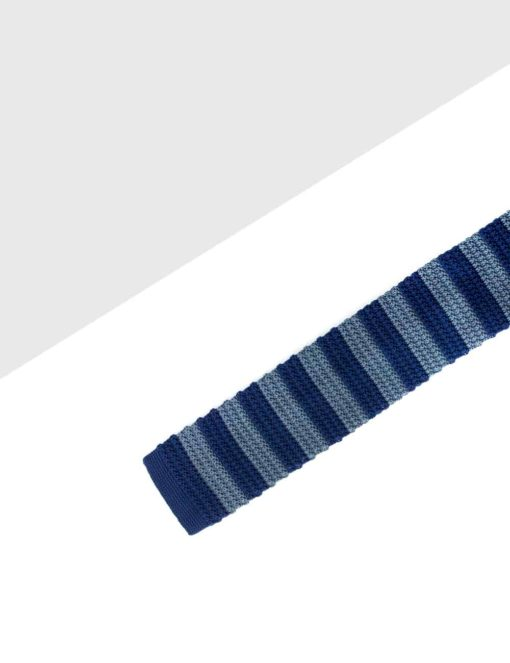Navy and Grey Stripes Knitted Necktie KNT85.8