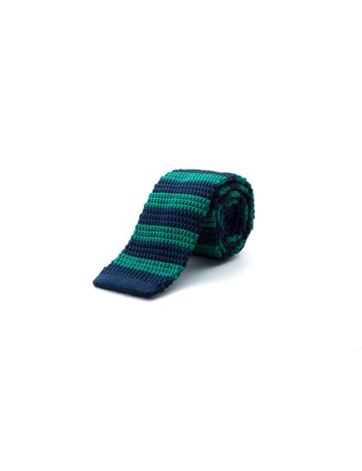 Navy and Green Stripes Knitted Necktie KNT86.8