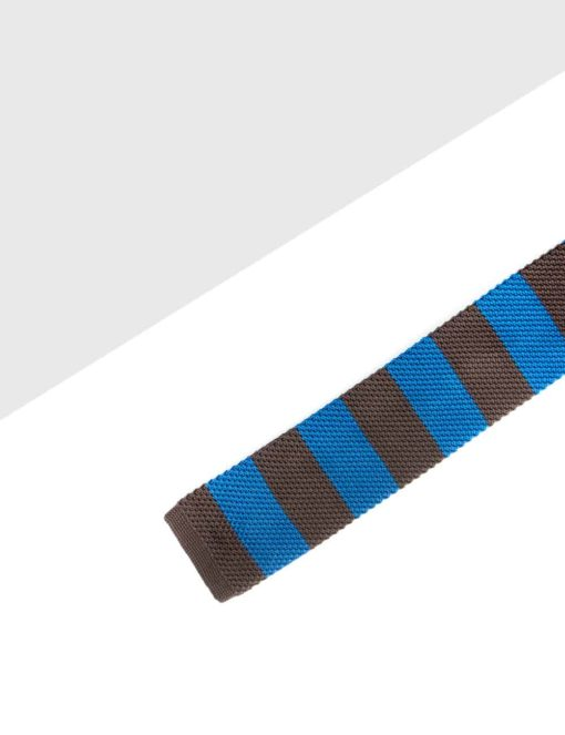 Blue and Brown Stripes Knitted Necktie KNT87.8