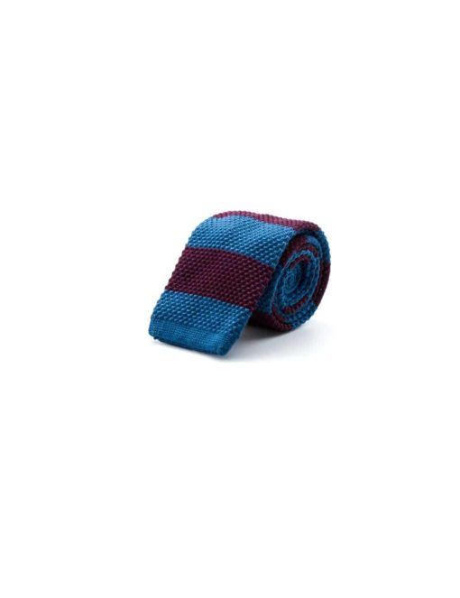 Blue and Maroon Stripes Knitted Necktie KNT88.8