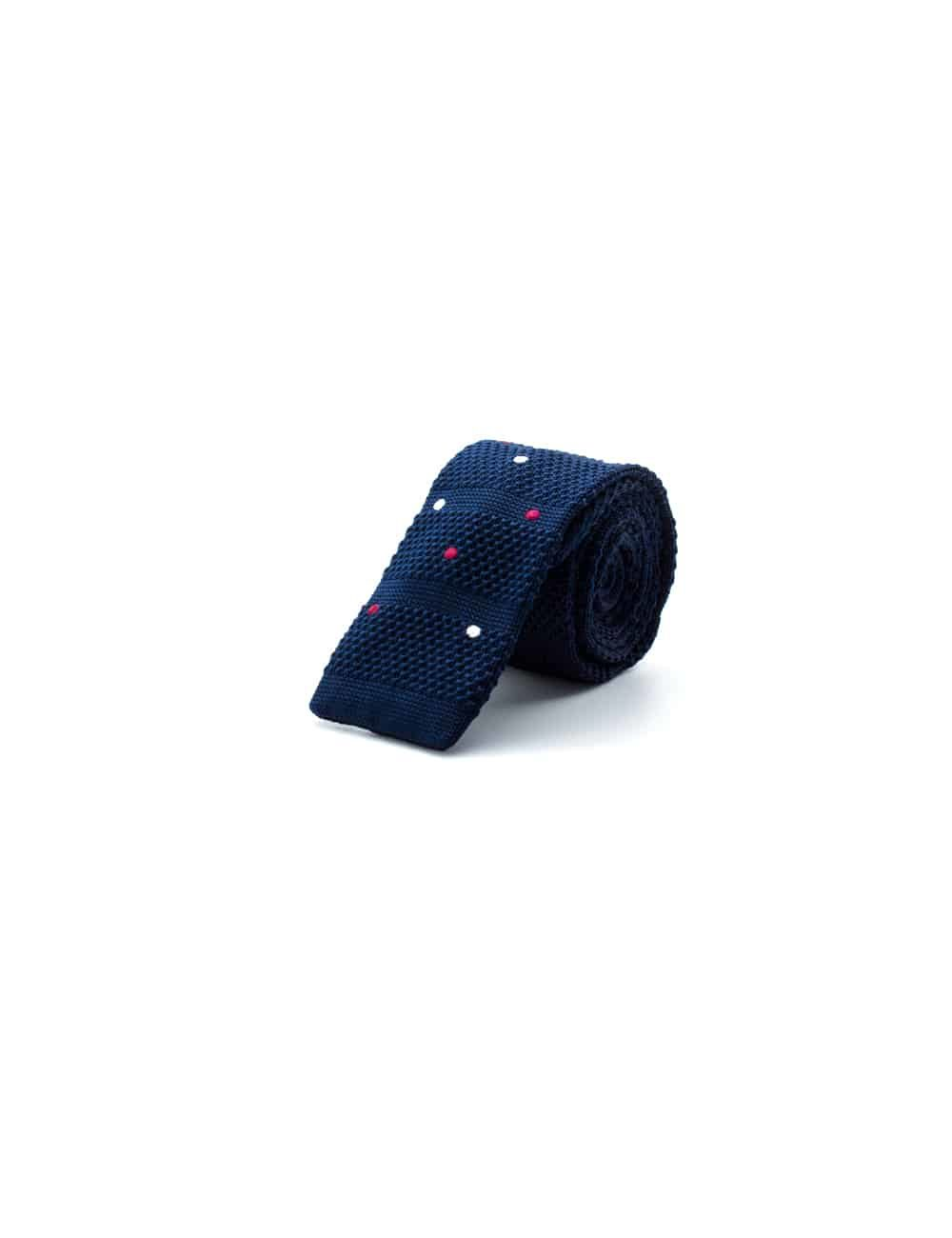 Navy with Pink and White Polka Dots Knitted Necktie KNT91.8