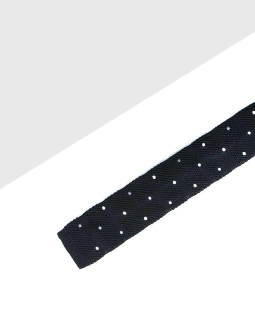 Black with Grey and White Polka Dots Knitted Necktie KNT92.8