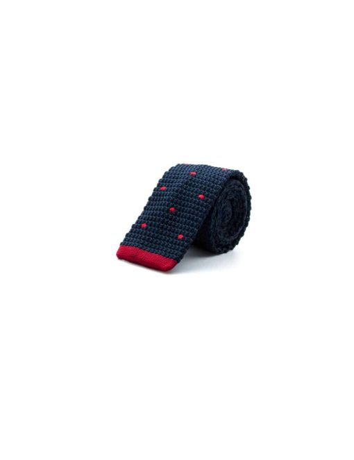 Navy with Red Polka Dots Knitted Necktie KNT94.8