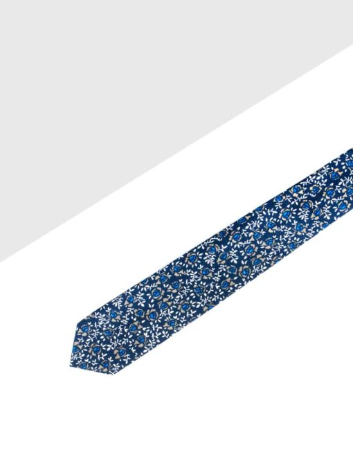 Black with Blue Floral Print Woven Necktie NT1.8