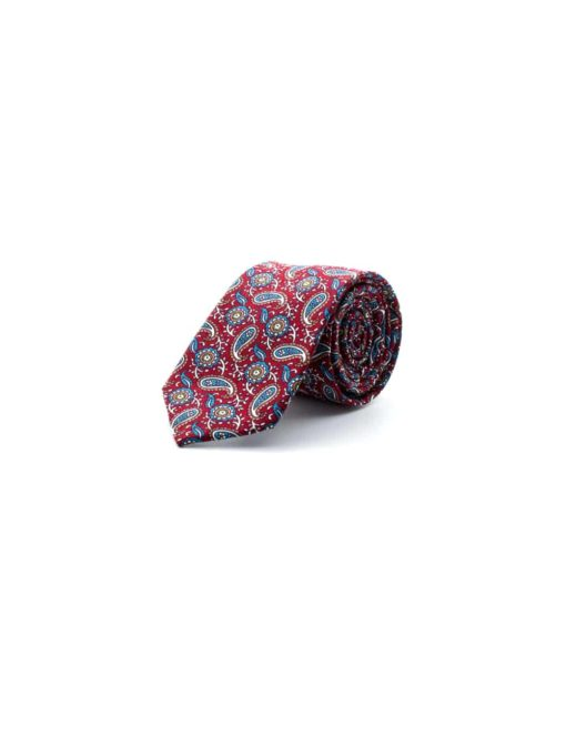 Maroon with Paisley Print Woven Necktie NT10.8
