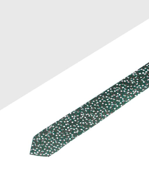 Green with White Floral Woven Necktie NT12.8
