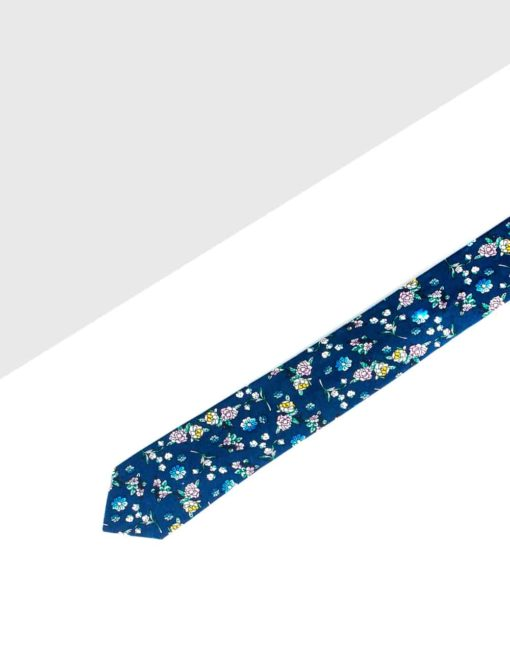 Blue with Coloured Floral Woven Necktie NT13.8