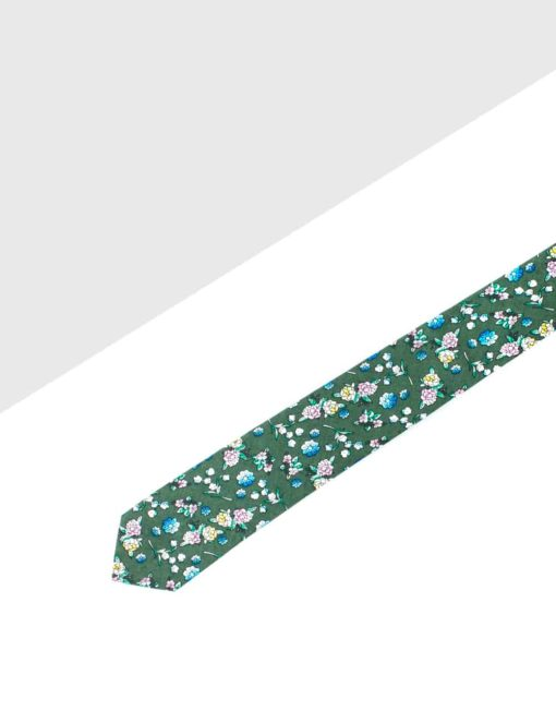 Olive Green with Coloured Floral Woven Necktie NT14.8