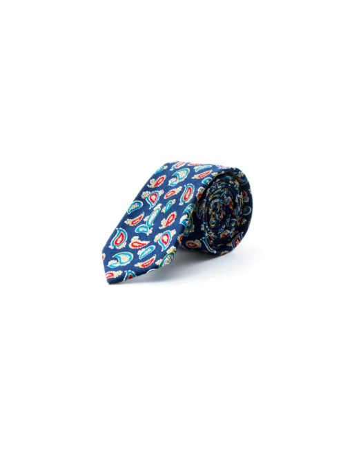 Navy with Multi Colored Paisley Woven Necktie NT15.8