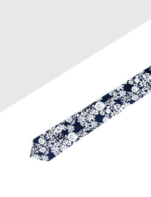 Black with White Hibiscus Print Woven Necktie NT17.8