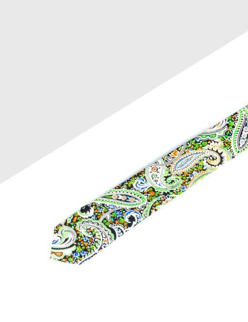 Green Paisley Print Woven Necktie NT18.8