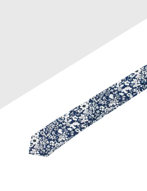 Navy with White Floral Print Woven Necktie NT2.8