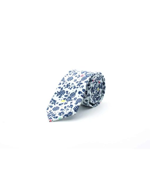 White with Navy Floral Print Woven Necktie NT3.8